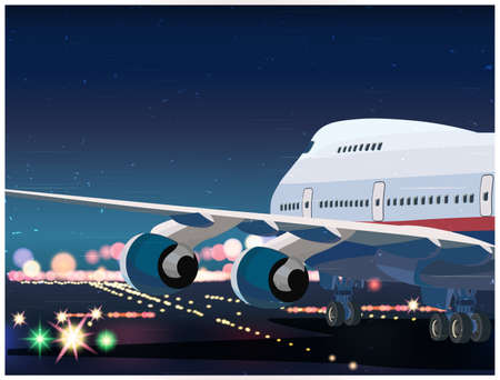 tarmac: Stylized illustration on the theme of civil aviation. Big passenger airplane on the runway tarmac at night