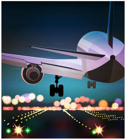 Stylized illustration on the theme of civil aviation. Big passenger airplane is landing at night