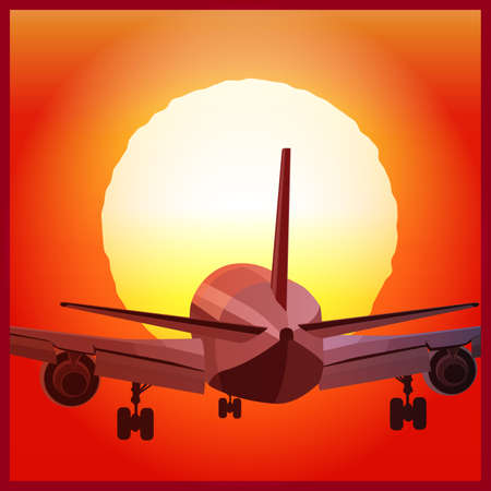 stylized vector illustration of a plane to takeoff or landing  at sunset