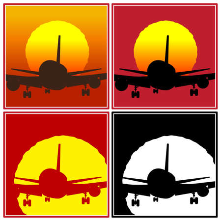 stylized vector illustration of a plane to takeoff or landing in the sun