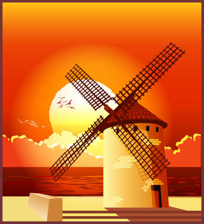 Vector illustration of a windmill on the shore at sunset. Illustration