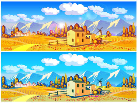Stylized vector illustration on the theme of the village, farming, beautiful landscape of fields and mountains in autumn. Seamless horizontally if needed