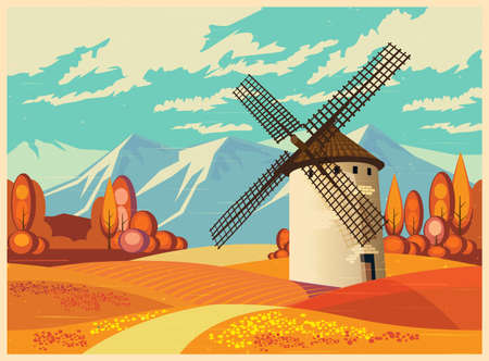 provence: Stylized vector illustration on the theme of European landscapes in autumn old poster style. Windmills, fields of Provence, the Alps, etc. seamless horizontally, if necessary. Illustration