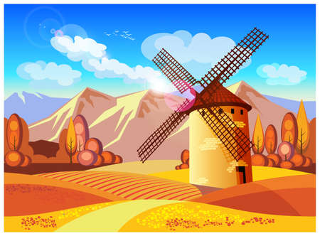 provence: Stylized vector illustration on the theme of European landscapes in autumn. Windmills, fields of Provence, the Alps, etc. seamless horizontally, if necessary.