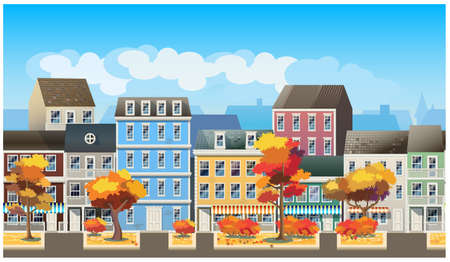 city scene: Stylized, seamless horizontal vector illustration on the theme of the old town in autumn. Illustration