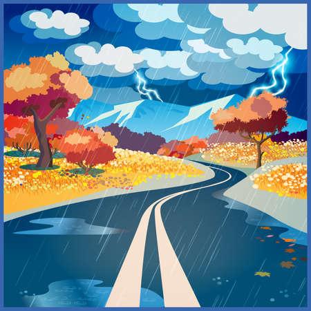 Gestileerde vector illustratie op het thema van de weg, avontuur en Journey. Herfst regen weg door de velden naar de bergen