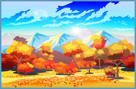 Stylized vector illustration on the theme of a beautiful autumn forest. Seamless horizontally if needed Illustration