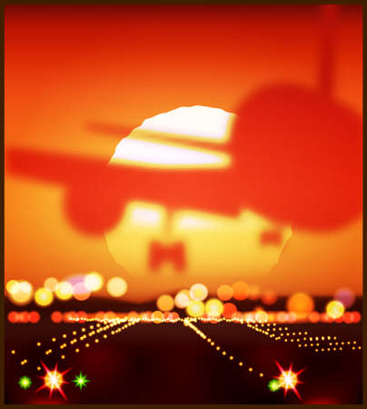 Stylized vector illustration on the theme of aviation. Big airplane landing in the last rays of the sun