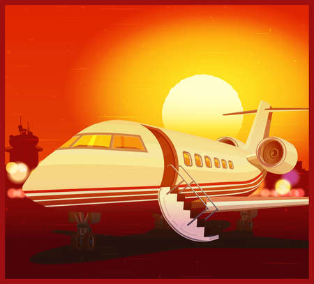 private jet: Stylized vector illustration on a theme of private aviation and air transport