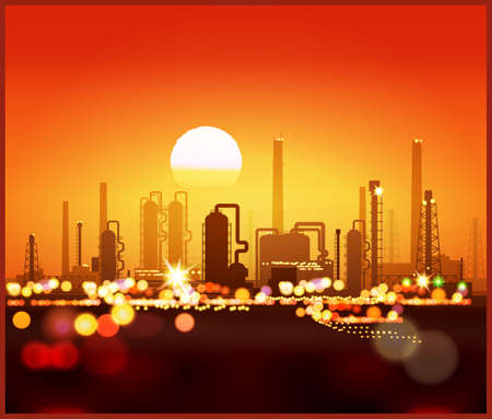 horizontally: Stylized vector illustration of an industrial landscape at sunset. Seamless horizontally if needed