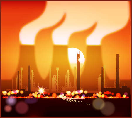 Stylized vector illustration of an industrial landscape at sunset. Seamless horizontally if needed