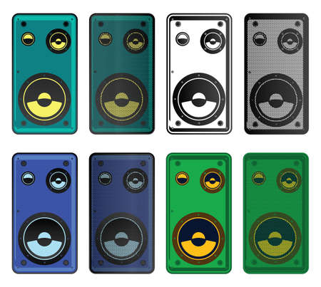 sub woofer: Stylized vector illustration of modern speakers of different colors