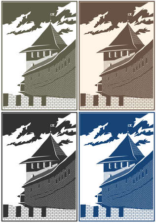 impregnable: Stylized vector composition on the theme of old castles and fortresses.