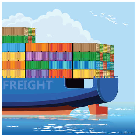 Stylized vector illustration of container carrier ship
