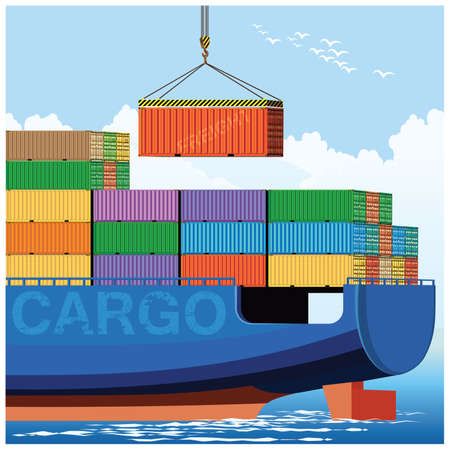 Stylized vector illustration of loading containers on a cargo ship Illustration
