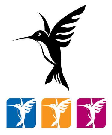 Gestileerde vectorillustratie van een vliegende kolibrie