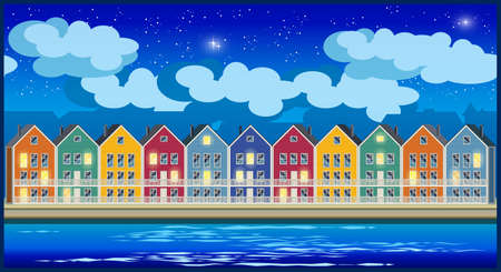 Stylized seamless horizontal vector illustration on the theme of the town and colorful townhouses at night