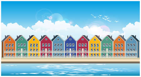 Stylized seamless horizontal vector illustration on the theme of the town and colorful townhouses