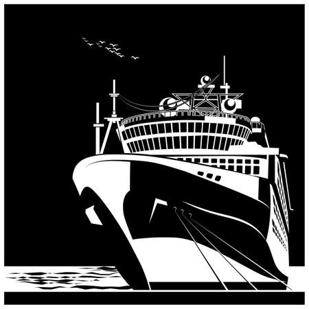 Stylized vector illustration of an ocean liner at the pier