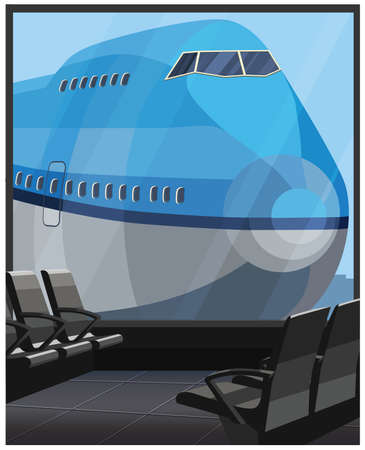 Stylized vector illustration on the theme of civil aviation. Large passenger airliner outside the terminal window Çizim