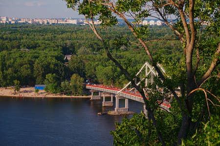 Scenic view of the pedestrian bridge in Kiev