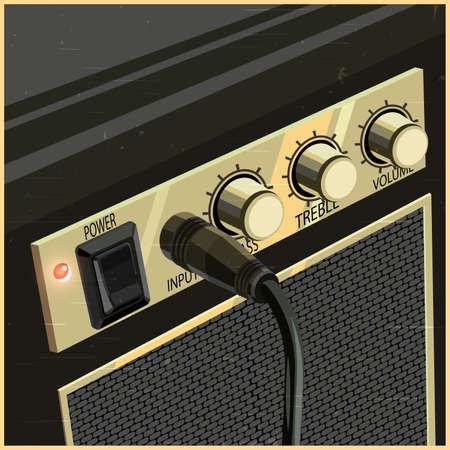 レトロなスタイルのギターのアンプの様式化されたベクトル イラスト  イラスト・ベクター素材