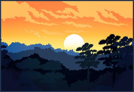 Stylized vector illustration on the theme of a beautiful forest. Ilustração
