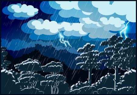 Stylized vector illustration of a night landscape of a forest.