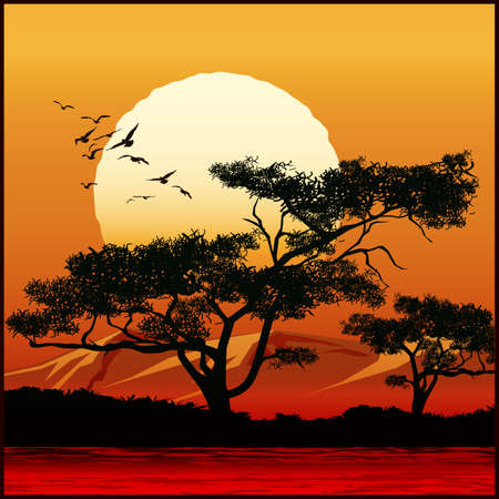 Stylized vector illustration of tree on sunset background Çizim
