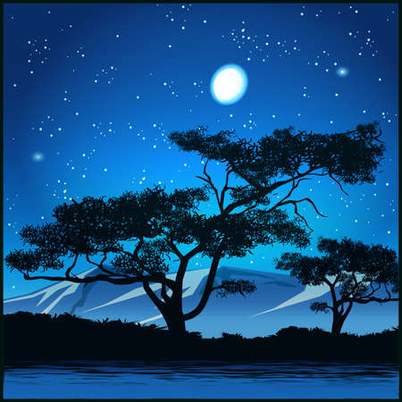 Stylized vector illustration of trees at starry night