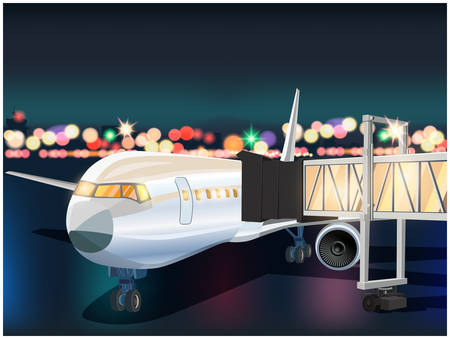Stylized vector illustration of an airplane with a telescopic gangway in the airport at night