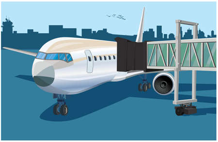 Stylized vector illustration of an airplane with a telescopic gangway in the airport