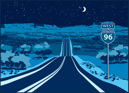 Stylized vector illustration of a picturesque route through the mountain valley at night