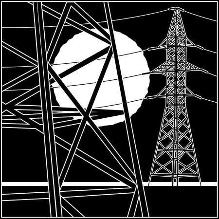 Stylized vector illustration on the theme of high voltage power lines, industrial, symbols of the energy sector Illustration