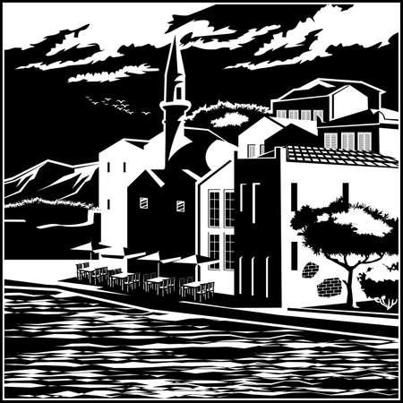 旧市街の美しい堤防の様式化されたベクトル イラスト  イラスト・ベクター素材