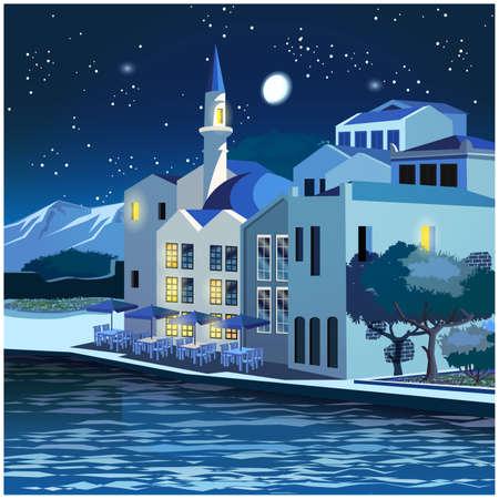 Gestileerde vectorillustratie van de schilderachtige dijk van de oude stad 's nachts