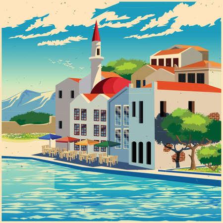 Gestileerde vectorillustratie van de pittoreske dijk van de oude stad oude poster stijl Stock Illustratie