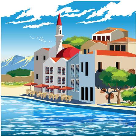 Gestileerde vectorillustratie van de schilderachtige dijk van de oude stad
