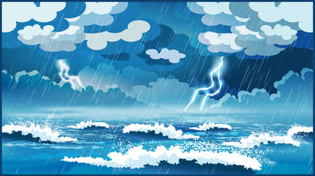 Stylized vector illustration of an ocean during a storm Stock Illustratie
