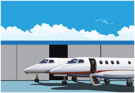 Stylized vector illustration luxury business jets parked in front of hangar 向量圖像