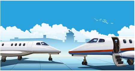 Illustration vectorielle stylisée sur un thème de l'aviation privée. Jets d'affaires modernes à l'aéroport Vecteurs