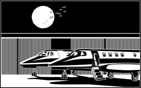 Stylized vector illustration luxury business jets parked in front of hangar