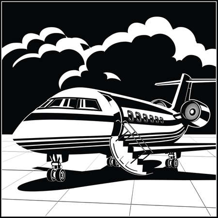 Stylized vector illustration on a theme of private aviation. Modern business jet at the airport