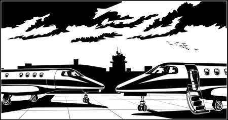 Stylized vector illustration on a theme of private aviation. Modern business jets at the airport