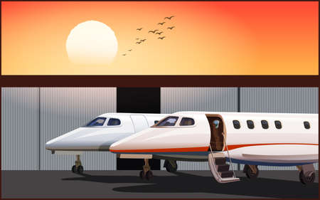 Stylized luxury business jet at sunset parked in front of hangar Illustration