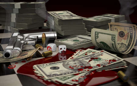 3D illustration on the theme of crime, gambling, money, and weapons offenses. Blood, a smoking gun and cartridges.