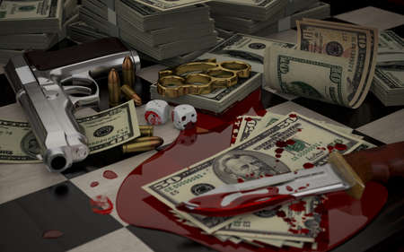 3D illustration on the theme of crime, gambling, money, and weapons offenses. Bloodied knife, gun, brass knuckles, dice and money