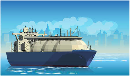 Stylized vector illustration on the theme of marine transportation. Large liquefied natural gas tanker cargo ship leaving the harbor Stock Vector - 97987930