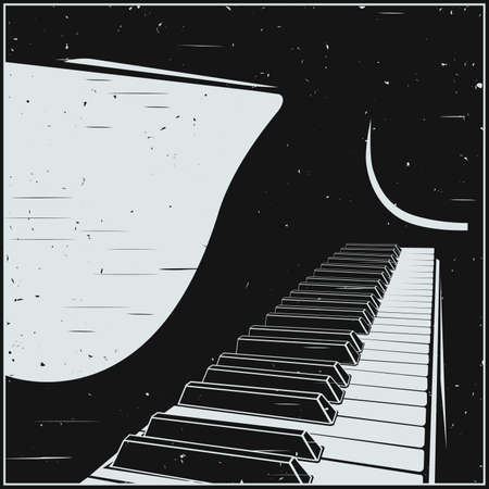 Stylized vector illustration of a piano or grand piano keyboard in retro poster style Stock Illustratie