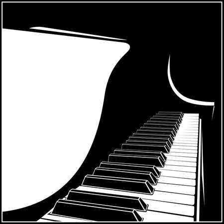 Gestileerde vectorillustratie van een piano of vleugel-klavier Vector Illustratie